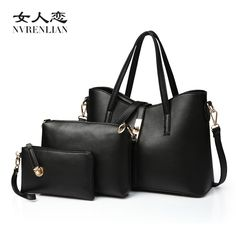 (48.00$)  Buy here - http://ai9gy.worlditems.win/all/product.php?id=32800903285 - Famous Brand Women Bag Brand 2017 Fashion Women Messenger Bags Handbags PU Leather Female Bag 3 piece Set