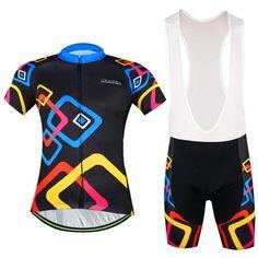 Men's Black Short Sleeve Cycling Jersey Set #Cycling #CyclingGear #CyclingJersey #CyclingJerseySet