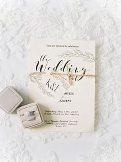 White Floral Wedding Invitation Suite with Wedding Engagement Rings