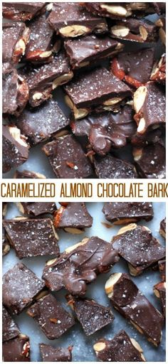 Caramelized almond chocolate bark is 100% my favorite treat to make – and gift – this time of year.