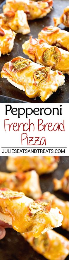 Pepperoni French Bread Pizza Recipe ~ French Bread Layer with Pizza Sauce, Pepperoni and Cheese! Quick and Easy Twist on Pizza Night! ~ http://www.julieseatsandtreats.com