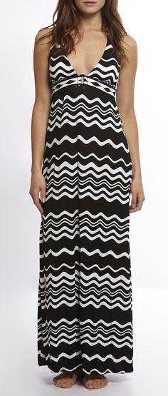 Black  White Groove Maxi Dress