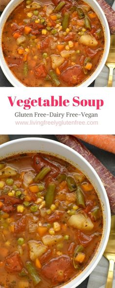 This delicious vegetable soup is naturally gluten and dairy free. It is fast and easy to make in the instant pot. It is full of amazing flavor that is healthy hearty and delicious. You will love this one for an easy weekday dinner or to warm you on a co Vegan Vegetable Soup, Homemade Vegetable Soups, Vegan Soups, Low Calorie Vegetable Soup, Dairy Free Soup, Gluten Free Recipes For Dinner, Dinner Recipes, Gluten Free Soups, Vegan Recipes