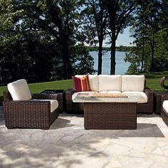 The Lloyd Flanders Contempo Fire Pit Patio Set brings high-end style and comfort to the classic backyard fire, showcasing rich woven vinyl furniture in an Aged Walnut finish. Set includes 2 lounge chairs, a sofa, end tables, and rectangle fire pit table. Fire Pit Patio Set, Fire Pit Table Set, Fire Pit Sets, Propane Fire Pit Table, Fire Pit Table And Chairs, Lounge Chairs, Side Chairs, Fire Pit Furniture, Patio Furniture Sets
