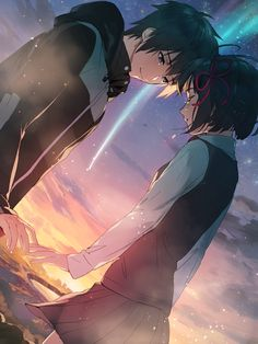 Image discovered by Sugary Queen. Find images and videos about anime, your name and kimi no na wa on We Heart It - the app to get lost in what you love. Manga Anime, Anime Body, Film Anime, Fanarts Anime, Couple Amour Anime, Manga Couple, Anime Love Couple, Cute Anime Couples, Cosplay Anime