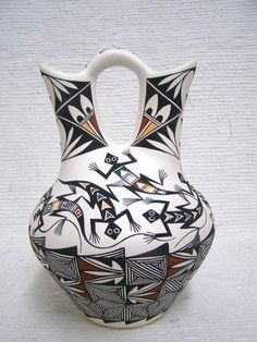 Native American Acoma Handpainted Wedding Vase with Lizards--Laguna