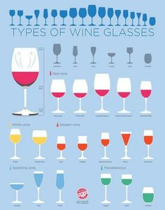 Different kinds of wine glasses