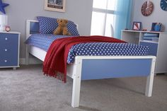Boys Blue & White Childrens 3ft Single Wooden Bed