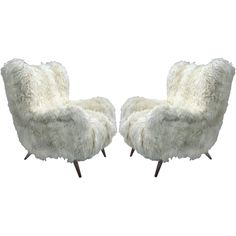 Eclectic: Fashion/Design/Architecture... Armchairs long hair goatskin, 1950's