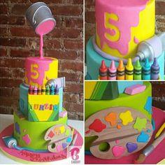 Arts and crafts cake! Arts and crafts cake! Arts and crafts cake! Arts and crafts cake! Art Birthday Cake, Themed Birthday Cakes, Themed Cakes, 2nd Birthday Cake Girl, Birthday Ideas, Anti Gravity Cake, Gravity Defying Cake, Art Party Cakes, Cake Art