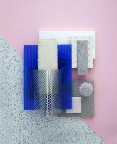 Material mood for a retail concept ~ New Industrial & Soft Textiles. #industrial #plastic #metalmesh #textiles #corion #terrazzo #pink #blue #color #design #architecture #interior #material #mood #moodboard #studiodavidthulstrup