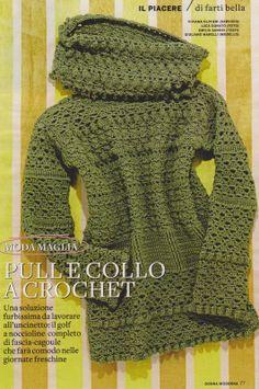 crochet pull (istruzioni in italiano- instr. in italian language) T-shirt Au Crochet, Crochet Bolero, Pull Crochet, Crochet Coat, Crochet Shirt, Crochet Jacket, Crochet Clothes, Crochet Sweaters, Knitting Patterns