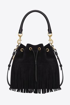FOR STYLE INSPIRATION || Fringed black leather shoulder bag with gold hardware by Yves Saint Laurent || NOVELA...where the modern romantics play & plan the most stylish weddings...Instagram: @novelabride www.novelabride.com