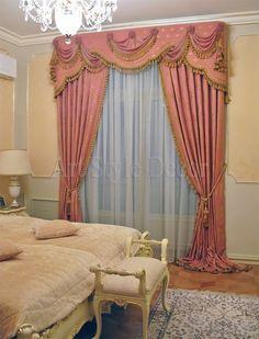 Классические шторы для спальни с ламбрекеном в стиле барокко #curtains