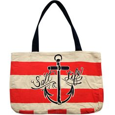 Salt Life - Other Accessories - Anchor Stripe Reversible Beach Bag