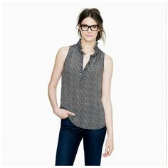 JCREW NICKY TOP IN HERRINGBONE Worn only a few times. In great condition. 100% sole, feels like silk! Sold out in store. J. Crew Tops Blouses
