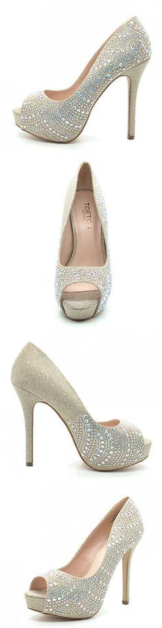 TOETOS CARINA-70 Elegant Slip On Platform Peep Toe Sexy High Heel Pumps Colorful Rhinestones Ladies Party shoes GOLD SIZE 11