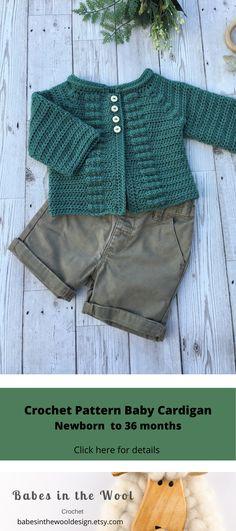 Crochet Pattern Baby Cardigan - Newborn to 36 months Baby Sweater Patterns, Modern Crochet Patterns, Crochet Patterns For Beginners, Baby Knitting Patterns, Baby Patterns, Crochet Baby Sweaters, Crochet Cardigan Pattern, Crochet For Boys, Cute Crochet