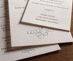Black Tie letterpress wedding invitation design