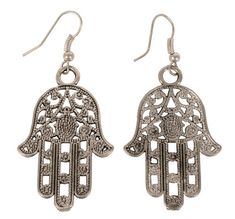 £6.00 Silver-Coloured Hamsa Hand Earrings. Hand-crafted in India