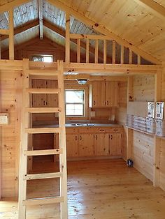 Find some great deals on prefab cabin kits or log house kits online, anywhere in North America. Buy log cabin kits at affordable prices with quality assurance. Amish Cabins, Tiny Cabins, Tiny House Cabin, Tiny House Living, Tiny House Plans, Cabin Loft, Small Log Cabin Plans, Building A Small Cabin, Lofted Barn Cabin