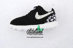 Swarovski Nike Preschool Black Roshe Run with Cheetah Print Blinged with SWAROVSKI® Crystals