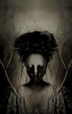 Echoes - FREE SHIPPING - Print Girl Mirrored Portrait Dark Creepy Haunting Branches Shadows Black White Cream Face Eyes SurrealArt via Etsy