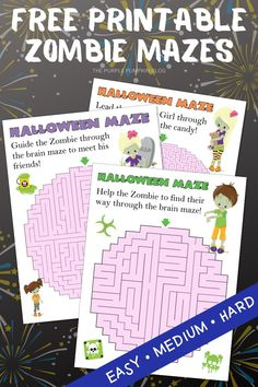 Download these Free Printable Zombie Mazes for Halloween and help the zombies find their way through the brains! If the kids (or you!) are stuck inside for Halloween, then this set of puzzles (with varying difficulty levels) will help to have some creepy fun as you trace your way out! #ThePurplePumpkinBlog #HalloweenPrintables Diy Halloween Costumes, Halloween Crafts, Projects For Kids, Craft Projects, Pumpkin Template, Purple Pumpkin, Party Scene, Stationery Items, Free Planner
