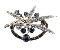 Create a unique style marked with grace for  your blouse or blazer with this attractive brooch featuring an explosion of blue sparkling petals and leaves crafted in floral details. #stuff4uand4u