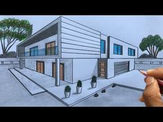 House Design Drawing, House Drawing, Point Perspective, Perspective Drawing, Flower Background Wallpaper, Wallpaper Backgrounds, Art Drawings Sketches Simple, Easy Drawings, Architecture Concept Drawings