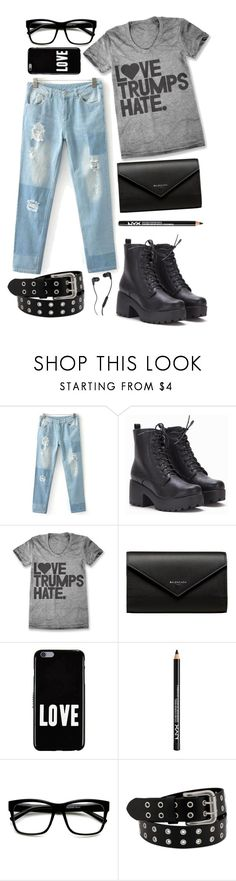 """love trumps hate"" by summersunflower7 ❤ liked on Polyvore featuring Balenciaga, Givenchy, NYX, Skullcandy, denim, minimalism, distressedjeans and LoveTrumpsHate"