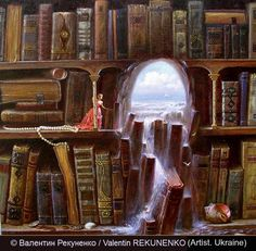 2006 © Валентин Рекуненко / Valentin REKUNENKO (Artist. Ukraine). Surreal Art, Fantasy. A flood of knowledge? The sea of life breaks through the book dam. Yet the little victorian lady seems more absorbed or contemplative of the waterfall than alarmed. The blue sky, calm sea and picturesque sailboat seen through the arch seem to call out to the woman - 'come away from your musty old books and live life!' - pfb