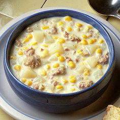 Corn-Sausage Chowder: Plenty of meat and potatoes make a satisfying meal-in-a-bowl.