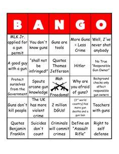 "Ha! Play ""BANGO"" with pro-gun statements..."