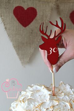 Deer shaped chalkboard cake topper by D&M made with love. Red velvet cake by PB Cakes