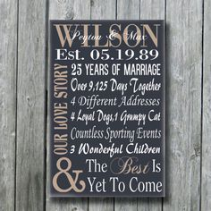 Personalized 5th 15th 25th 50th Anniversary Gift,Wedding Engagement Wife Husband Parents Gift,Custom Sign,Our Love Story,Best Is Yet To Come...