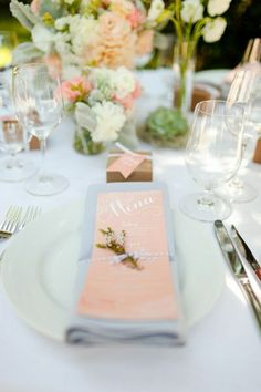 Of all the 2018 wedding colours, Blooming Dahlia is possibly the most wedding-worthy shade. Take a look at these gorgeous coral wedding ideas. Wedding Decorations On A Budget, Wedding Table Centerpieces, Wedding Table Settings, Table Decorations, Table Wedding, Place Settings, Wedding Mandap, Wedding Stage, Wedding Menu