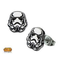 Stainless Steel Star Wars Storm Trooper #Enamel #Stud #Earrings. #jewelry #starwars #disney #darkside #stormtrooper
