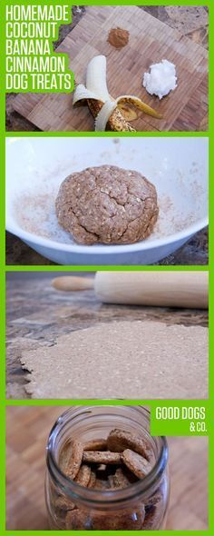 Homemade Coconut Banana Cinnamon Dog Treats! Super easy, and healthy! Did I mention they smell divine?