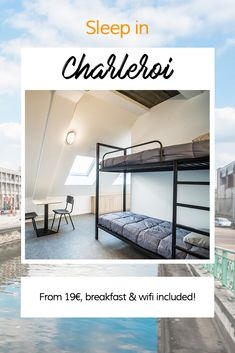 Sleep in Liège at the Youth Hostel! From breakfast and wifi included. Hostel, Bunk Beds, Wifi, Youth, Sleep, Breakfast, Furniture, Black, Home Decor