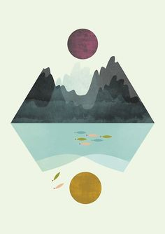 Geometric art geometric poster geometric print by FLATOWL on Etsy Geometric Poster, Geometric Wall Art, Abstract Wall Art, Abstract Print, Geometric Nature, Geometric Prints, Painting Abstract, Geometric Designs, Landscape Prints
