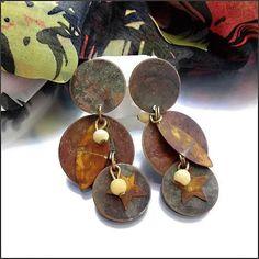 Ethnic Vintage Pierced Earrings Earth Tones Anodized Brass $24