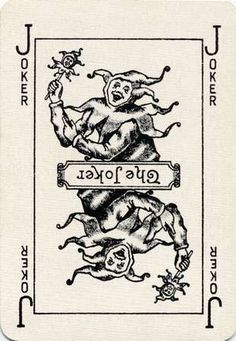 Vintage playing card with a joker