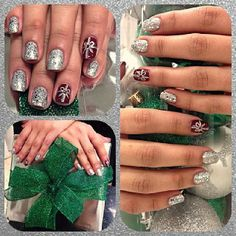 Holiday nails inspired by presents by @nadiaaaag_. #NailTech #TricociCareers #SalonCareers #SpaCareers #regram