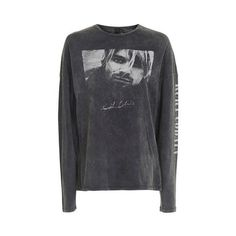 Kurt Cobain Long Sleeve T-Shirt by and Finally ($58) ❤ liked on Polyvore featuring tops, t-shirts, black, graphic print t shirts, longsleeve t shirts, graphic design tees, graphic design t shirts and long sleeve tops