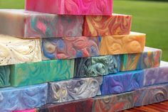 Colorful bars of lush cosmetics soap. easy to make at home for under half price! Homemade Beauty, Diy Beauty, Savon Soap, Lush Cosmetics, Soap Maker, Perfume, Cold Process Soap, Soap Recipes, Soap Molds
