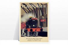 Retro Travel Poster - Harry Potter - Platform 9 3/4 Hogwarts Express - MANY SIZES - Modern Vintage Magic Wizard Geek Film Typography Print