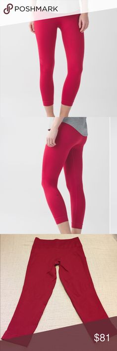 Lululemon Zone In Crop cranberry red These crops are in very good condition. The size tag is starting to separate at the seams. lululemon athletica Pants