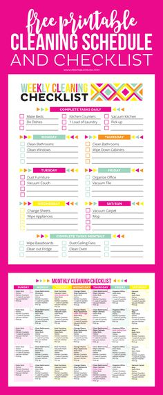 'FREE Printable Cleaning Schedule and Checklist...!' (via Printable Crush)