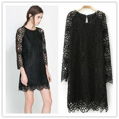 Lace hollow out woman dress in 3 size high quality of cotton blends&lace sexy dress OL business lace dress autumn winter dress $23.99